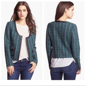 Hinge Womens Jacket Green Tweed Blazer Small